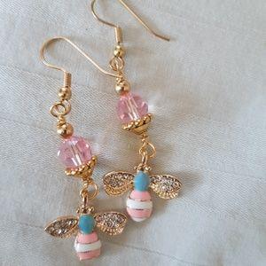 Jewelry - Blue & pink, Swarovski Bumblebee sparkle earrings!